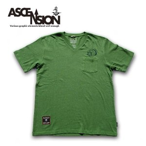 Tシャツ ASCENSION(アセンション)HEMP V-NECK PK TEE (GO HEMP ボディー仕様)「ASA NO HA」as-612|juice16