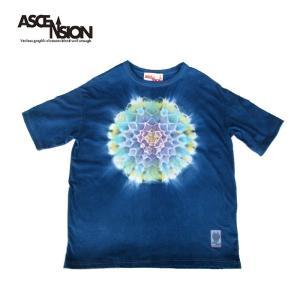 タイダイ半袖Tシャツ ASCENSION (アセンション)曼荼羅 藍染め WIDE Tシャツ  as-785 juice16