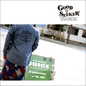GOOD SEEKER(グッドシーカー)Vintage Chambray shirt  (ヴィンテージシャンブレーシャツ)「MUSTASH WAX」 gs-004 juice16