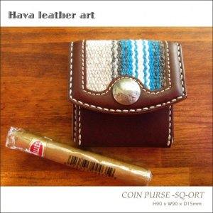 Hava Leather Art (ハバ レザーアート)COIN PURSE -SQ-ORT(小銭入れ)[Saddle leather :Choco/ORTEGA'S] hav-004|juice16