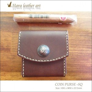 Hava Leather Art (ハバ レザーアート)COIN PURSE -SQ-ORT(小銭入れ)[Saddle leather :Choco] hav-014|juice16