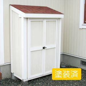 屋外 コンパクトサイズの小型木製物置 スモールハウス:ルレオ塗装済(送料別)|juicygarden