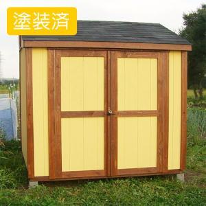 屋外 大容量の木製物置 スモールハウス:トゥルク塗装済(送料別)|juicygarden