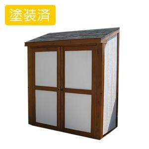 屋外 使いやすいデザイン木製物置 スモールハウス:ウオピオ塗装済(送料別)|juicygarden
