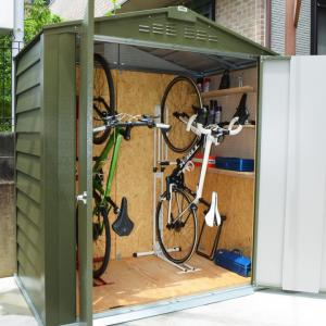 サイクルハウス 自転車倉庫 収納庫 ガレージ サイクルポート サイクルガレージ 物置 おしゃれな自転車置き場「メタルシェッド TM6 サイクルプラス」2台用