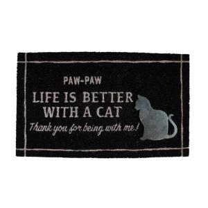 玄関マット おしゃれ ココナッツ繊維 ココヤシ ドアマット ウェルカムマット 外置き ネコ 猫 ねこ 「コイヤーマット キャット(PAW CAT)750×450mm」の写真