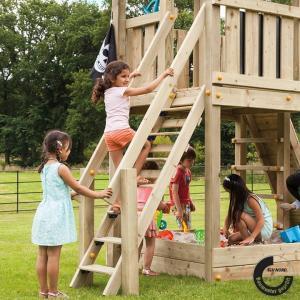 [送料無料対象外] 遊具 DIY 家庭用遊具 階段 はしご 子供 「はらっぱギャング はらっぱBASEオプション ステップ (STEP) 木材(エコアコールウッド)セット」