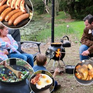 薪ストーブ BBQ バーベキュー アウトドア キャンプ ポータブル野外クッキングシステム「Ozpig International オージーピッグ インターナショナル 本体セット」|juicygarden