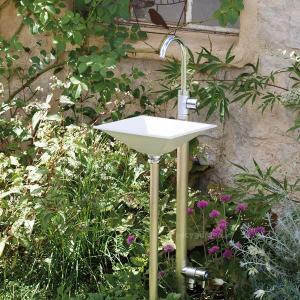 立水栓 水栓柱 ガーデニング 立水栓セット おしゃれ手洗い場 「ジラーレWスワンネック+手洗器セット (水栓柱+蛇口2個+手洗器)」|juicygarden