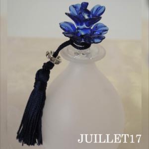 ムラーノガラス 香水瓶L ブルー・フラワー|juillet17