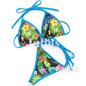 南国柄 Tバック 三角ビキニ (胸パット入) 水着 ブルー t73   Gストリング ひもタイプ セパレート スイムスーツ スイムウェア|julius