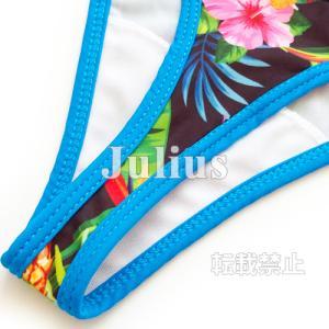 南国柄 Tバック 三角ビキニ (胸パット入) 水着 ブルー t73   Gストリング ひもタイプ セパレート スイムスーツ スイムウェア|julius|07