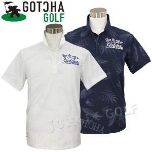 UV機能付きのボタニカル総柄ポロシャツ。  ボタニカル柄の色使いを、濃淡グラデーションとすることで奥...