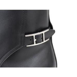 【中古】 エルメス ショートブーツ メンズ ブラック レザー 表記サイズ41 1/2|junglejungle|05