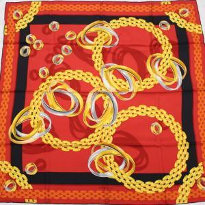 【中古】カルティエ 大判スカーフ 指輪柄 トリニティリング パンテールブレス レッド シルク100%|junglejungle