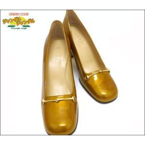 ヒール パンプス ホースビット ゴールド金具 エナメル ゴールド 表記サイズ:37C junglejungle