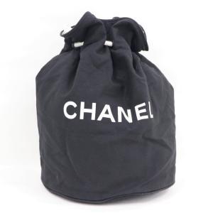 【中古】シャネル 巾着 プールバッグ ショルダーバッグ キャンバス ブラック|junglejungle