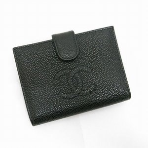 【中古】シャネル がま口二つ折り財布 ココマーク キャビアスキン レザー ブラック A13497 junglejungle