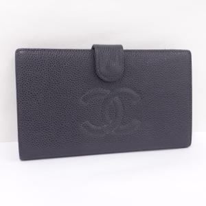 fa7be583f4f5 【中古】 シャネル 二つ折り長財布 がま口 ブラック キャビアスキン A13498