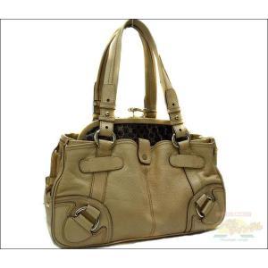 ■ 店長おすすめ♪ ■ セリーヌ がま口バッグ付きトートバッグ レザー ベージュ|junglejungle