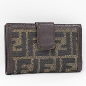 【中古】フェンディ がま口 コンパクト財布 二つ折り ズッカ柄 ジャガード/レザー ブラウン|junglejungle