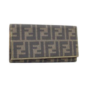 【中古】フェンディ 二つ折り財布 長札入れ ズッカ柄 ブラウン PVCレザー 8M0220|junglejungle
