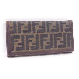 【中古】 フェンディ 二つ折り長財布 ズッカ柄 キャンバス/レザー ブラウン|junglejungle
