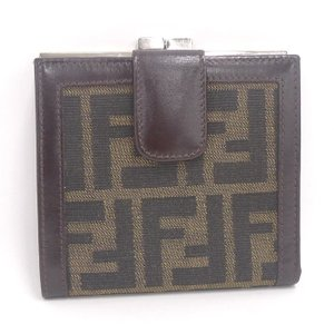 【中古】フェンディ 二つ折り財布 ズッカ柄 キャンバス/レザー カーキ/ブラウン|junglejungle