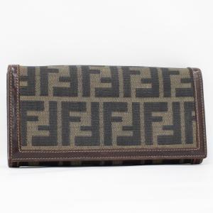 【中古】フェンディ 二つ折り長財布 ズッカ キャンバス/レザー カーキ系 ブラウン系|junglejungle