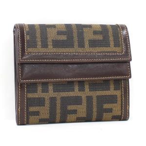 【中古】フェンディ 三つ折り財布 ズッカ柄 キャンバス ブラウン junglejungle