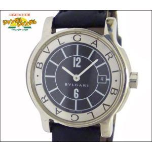 ブルガリ BVLGARI レディース腕時計 ソロテンポ SS×レザー クオーツ ブラック文字盤|junglejungle