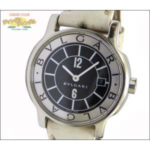 ブルガリ BVLGARI レディース腕時計 ソロテンポ SS×レザー(ホワイト) クオーツ ブラック文字盤|junglejungle