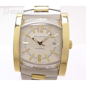 【中古】 ブルガリ アショーマ コンビ SS/K18YG メンズ腕時計 自動巻き アイボリー文字盤 AA48C6SGD|junglejungle