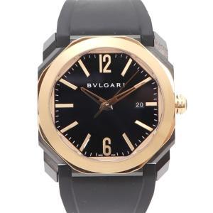 【中古】ブルガリ メンズ腕時計 オクト ソロテンポ ウルトラネロ 自動巻き 18KPGベゼル/SS ラバーベルト ブラック文字盤 BGO41BBSPGVD|junglejungle