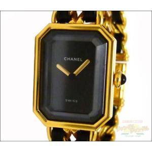 シャネル レディース腕時計 プルミエール Lサイズ GP×レザー クオーツ ブラック文字盤 junglejungle