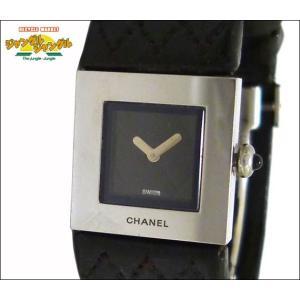 シャネル レディース腕時計 マトラッセ SS×レザー(ブラック) クオーツ ブラック文字盤|junglejungle
