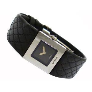 シャネル レディース腕時計 マトラッセ SS×レザー(ブラック) クオーツ ブラック文字盤|junglejungle|02