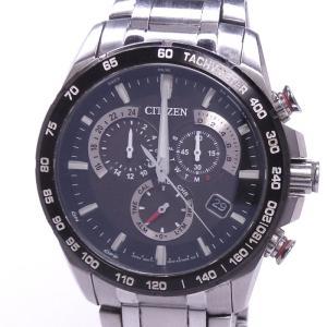 【中古】シチズン アテッサ エコドライブ クロノグラフ 電波ソーラー メンズ腕時計 SS ブラック文字盤 E610-S104831|junglejungle