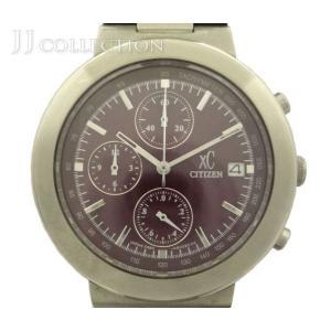【中古】シチズン メンズ腕時計 XC クロスシー クロノグラフ SS クオーツ デイト パープル文字盤 0560-H2805|junglejungle