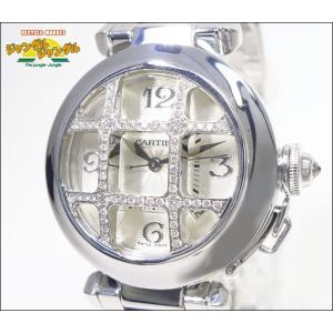 カルティエ パシャ32mm ダイヤコンベックスグリッド K18G/750 自動巻き ホワイトゴールド ホワイトギョーシェ文字盤 パヴェダイヤモンド|junglejungle