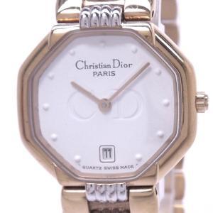 【中古】クリスチャンディオール レディース腕時計 オクタゴン クォーツ GP/SS ホワイト文字盤 D48.133|junglejungle