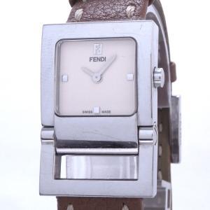 【中古】フェンディ セレリア レディース腕時計 オロロジ クォーツ SS シルバー ブラウンレザーベルト 5200L|junglejungle