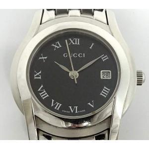 【中古】グッチ レディース腕時計 5500L クオーツ ブラック文字盤 SS シルバー|junglejungle