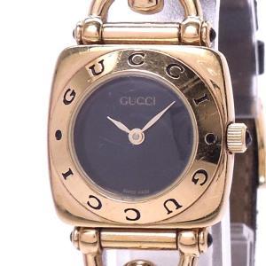 【中古】グッチ レディース腕時計 クォーツ GP ブラック文字盤 6300L|junglejungle