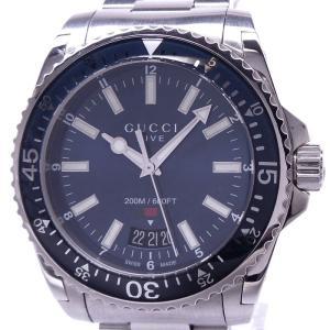 【中古】グッチ ダイブ メンズ腕時計 シェリー クォーツ SS ブルー文字盤 136.3/YA136311|junglejungle