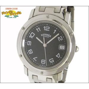エルメス メンズ腕時計 クリッパー SS クオーツ ブラック文字盤 junglejungle
