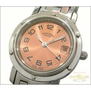 エルメス レディース腕時計 クリッパー SS クオーツ ピンク文字盤 junglejungle
