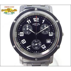エルメス メンズ腕時計 クリッパー クロノグラフ SS クオーツ CL1.910 ブラック文字盤 junglejungle