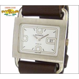 エルメス HERMES レディース腕時計 バレニア SS×レザー(ダークブラウン) クオーツ ホワイト文字盤