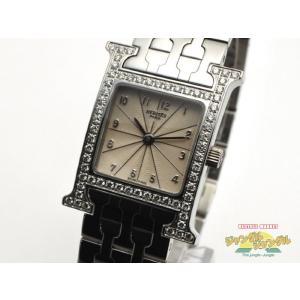 【中古】HERMES Hウォッチ ダイヤベゼル レディース腕時計 クオーツ ステンレス HH1.230 エルメス|junglejungle